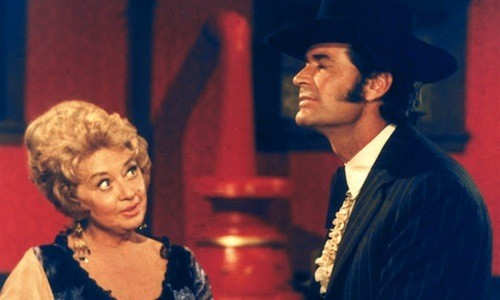 Joan Blondell and James Garner in Support Your Local Gunfighter (Photo: Twilight Time)