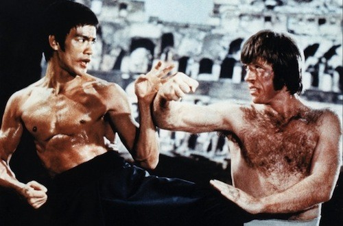 Bruce Lee and Chuck Norris in The Way of the Dragon, included in Kung Fu Trailers of Fury (Photo: Severin Films & Cube Cinema)