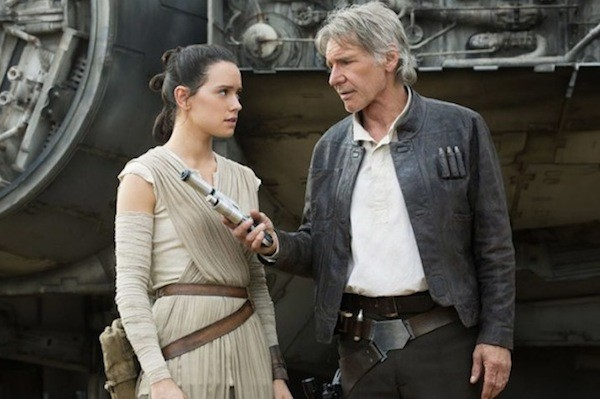 Daisy Ridley and Harrison Ford in Star Wars: The Force Awakens (Photo: LucasFilm & Disney)