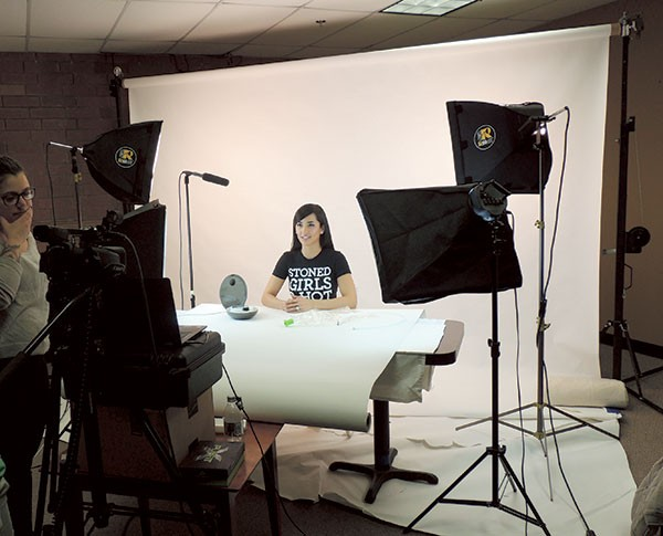 Behind the scenes at a product review shoot with Erinne Korado. (Photo by Ryan Pitkin)