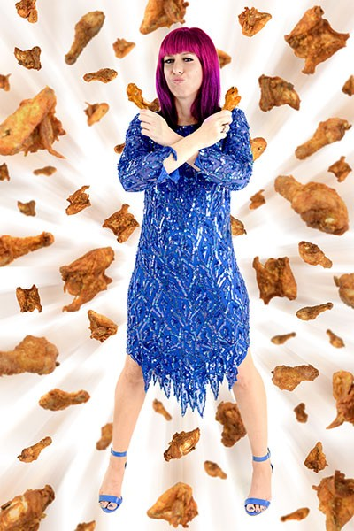 Phoebe Alicia hosts the Fried Chicken Art Party at Studio 1212 on May 6. (Photo by Jim McGuire with added graphics by Austin Caine)