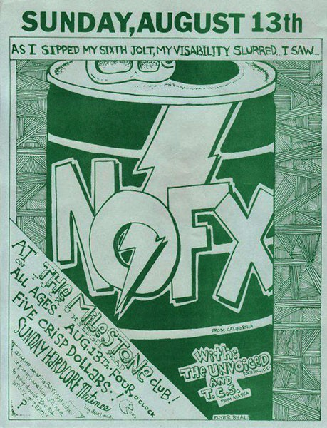 A poster from a NOFX show held on August 13, 1989. (Photo credit: Punks on Paper NC Music Flier Archive)