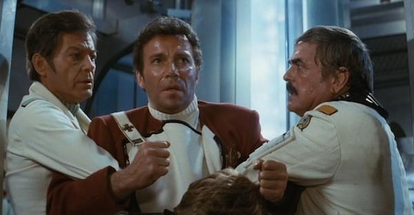DeForest Kelley, William Shatner and James Doohan in Star Trek II: The Wrath of Khan (Photo: Paramount)
