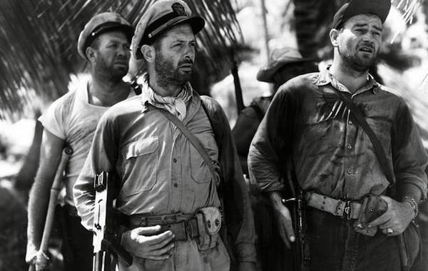 Ward Bond, Robert Montgomery and John Wayne in They Were Expendable (Photo: Warner Bros.)