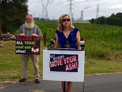 Debra Baker speaks at a previous coal ash press conference in front of the Allen Steam Station. - PHOTO COURTESY OF DEBRA BAKER