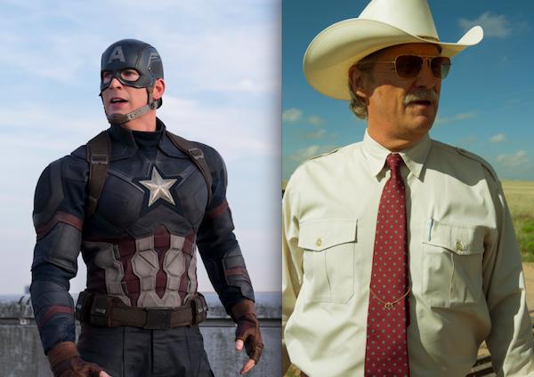 SUMMER'S HEROES: Chris Evans in Captain America: Civil War and Jeff Bridges in Hell or High Water (Photos: CA:CW: Marvel & Disney; HoHW: CBS Films)