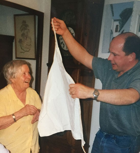 Chef Charles with his mother and the famous apron.