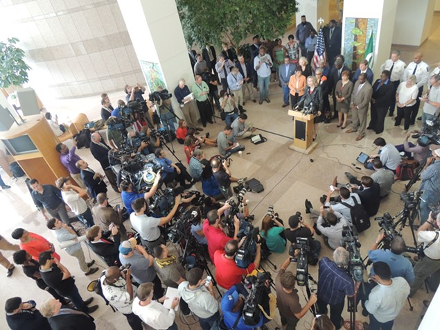 Mayor Roberts addresses national and local media this morning at the Charlotte-Mecklenburg Government Center. - RYAN PITKIN