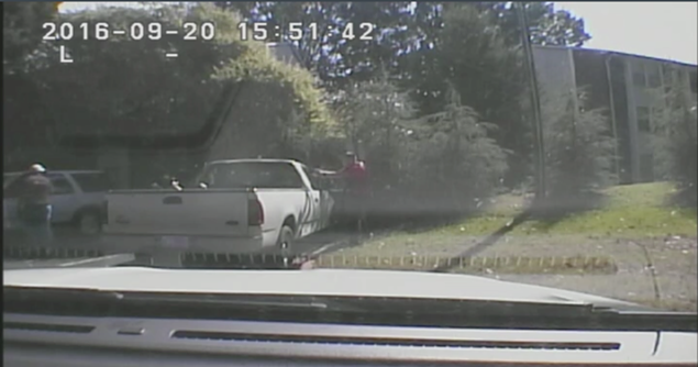 A still from the dash cam footage just before Keith Lamont Scott was shot.