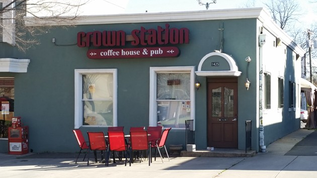 The defunct Crown Station Coffeehouse & Pub