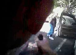A still from body-cam footage of an officer on the scene was Scott was killed.