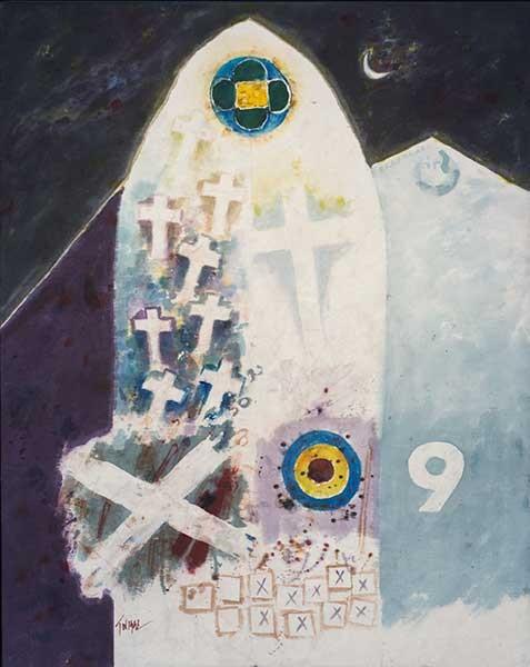 Leo Twiggs (1934- ), Requiem for Mother Emanuel #7, 2016, batik on cotton. The Johnson Collection. - SAILWIND