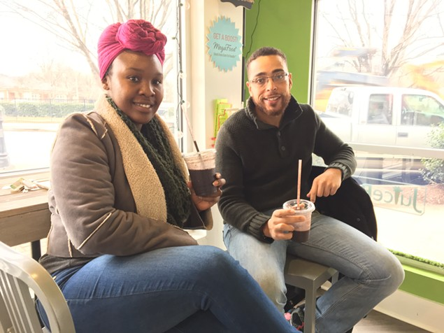 Juice Box customers Kaylan Frazier and C.J. Mason