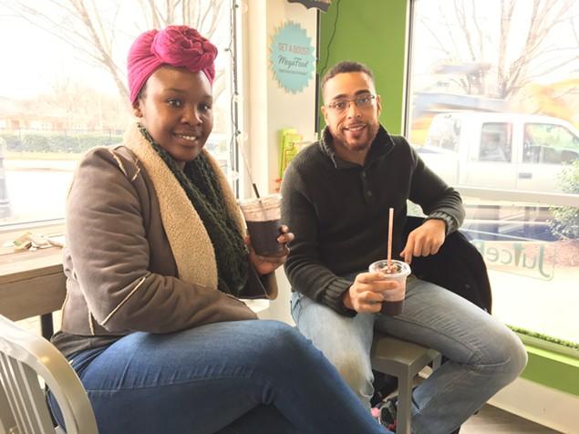 Juice Box customers Kaylan Frazier and C.J. Mason