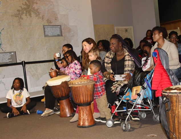 Drumming at the Charlotte Museum of History.