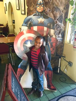 Amiah-Lynn loves to be greeted by Captain America when she comes to Bean Vegan - MARK KEMP