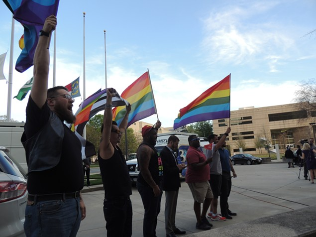 More than 100 people gathered in front of the Charlotte-Mecklenburg Government Center on March 24 to protest the passing of HB2. (Photo by Ryan Pitkin)