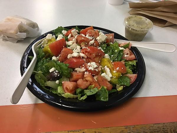 Steak 'n Hoagie's delicious Greek salad - PHOTO BY MARK KEMP