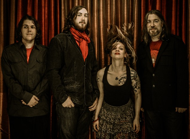 GUAS, Mark 1: The band with original singer Deirdre Kroner (second from right).