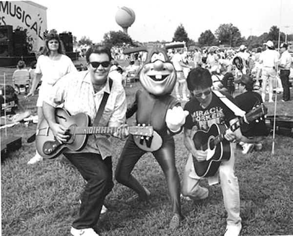 Fred Mills (right) and editor John Grooms rock  out at a CL function back in the day