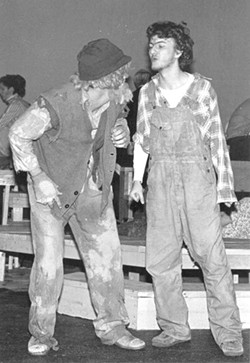Brunson alway struggled from personality crises: Here's the politically progressive writer playing a bullying redneck in UNCC's 1986 production of The Rimers of Eldritch.