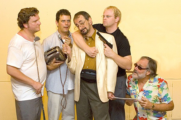 Local production of 'True West' promo photo spoofs what some in the theater world felt about some of Perry's assessments: from left to right, actors Tom Ollis, George Cole, Tannenbaum, James Yost and Hugh Loomis.