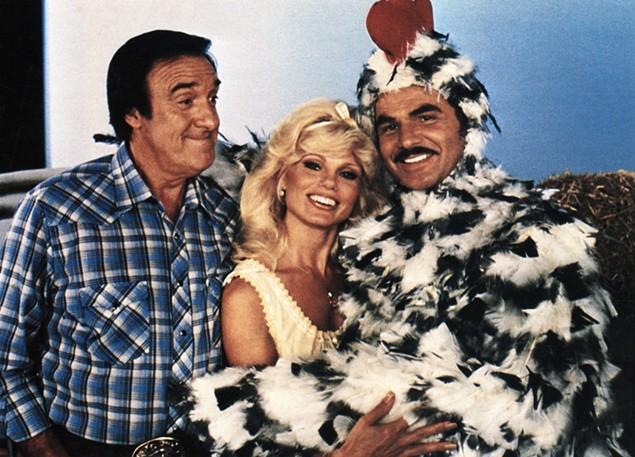 "Jim ""Gomer"" Nabors, Loni Anderson and Burt Reynolds in Stroker Ace (Universal)"