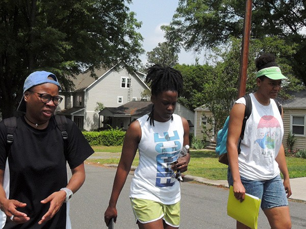 [From left] Gloria Merriweather, Jalisa Horne and Joie Shakur canvass in Villa Heights to raise funds for Black Mamas Bail Out. Photo by Ryan Pitkin.