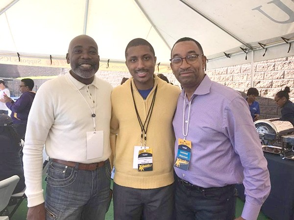 """Justin Harlow (center) with mentors and one-time District 2 representatives Al Austin (left) and James """"Smuggie"""" Mitchell."""