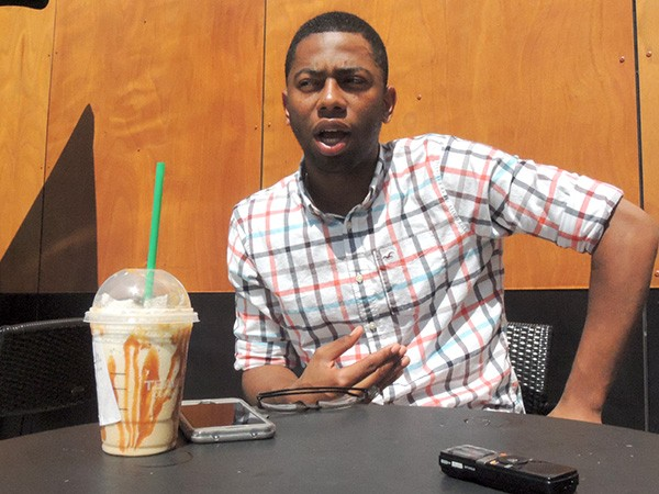Jesse Boyd discusses his campaign at a Starbucks off Arrowood Road.