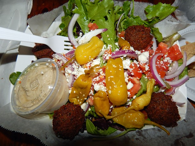 Pinky's tahini salad with falafel.