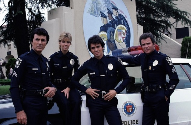 James Darren, Heather Locklear, Adrian Zmed and William Shatner in T.J. Hooker (Photo: Shout! Factory)