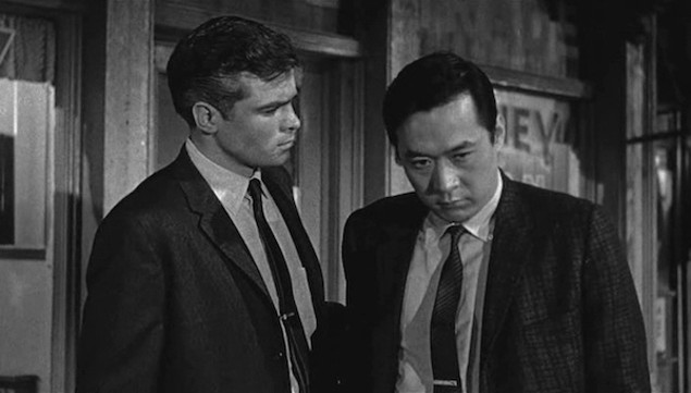 Glenn Corbett and James Shigeta in The Crimson Kimono (Photo: Twilight Time)