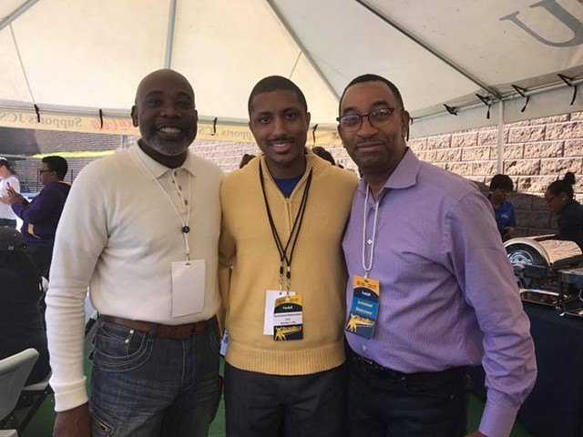 Justin Harlow [center] with former District 2 rep Al Austin [left] and current at-large rep James Mitchell [right].