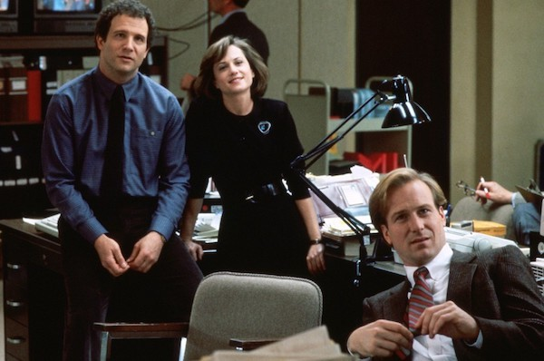 Albert Brooks, Holly Hunter and William Hurt in Broadcast News (Photo: Fox)