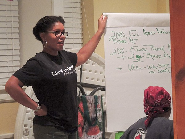 Patrice Funderburg at an Educate To Engage session. (Photo by Ryan Pitkin)