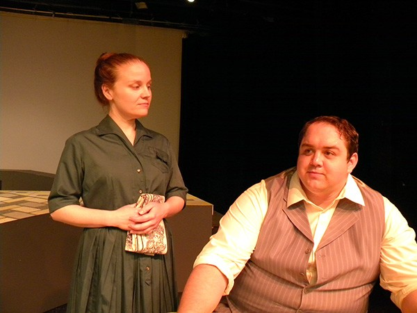 Caryn Crye (left) plays Elizabeth Proctor and Josh Logsdon plays John Proctor in CCCP's The Crucible. (Photo by Tom Hollis)