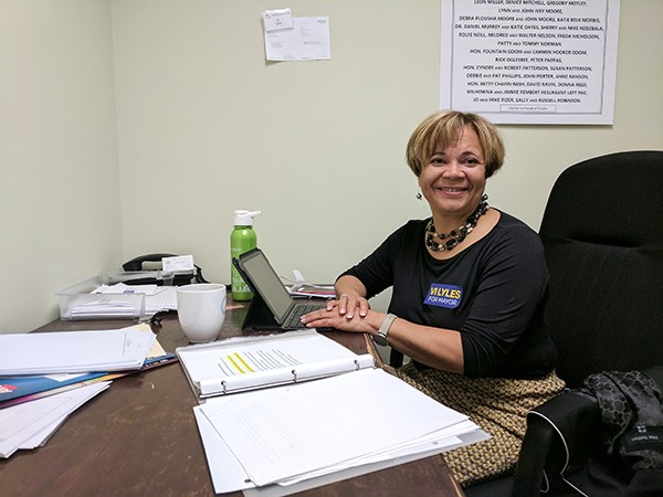 Vi Lyles in her east Charlotte campaign office.