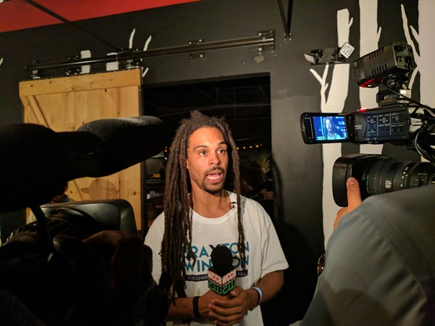 Braxton Winston speaks to media after his at-large victory on Tuesday night. (Photo by Ryan Pitkin)