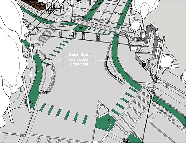 A rendering depicts changes planned for the 5 Points intersection for the Better Block event.