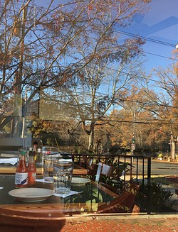 The Cajun Queen patio is a great option if you don't mind missing the live music inside. (Photo by Allison Braden)
