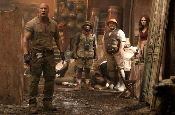 Dwayne Johnson, Kevin Hart, Jack Black and Karen Gillan in Jumanji: Welcome to the Jungle (Photo: Columbia)