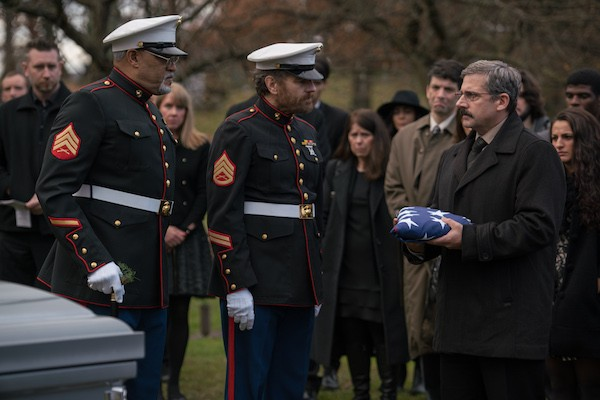 Laurence Fishburne, Bryan Cranston and Steve Carell in Last Flag Flying (Photo: Lionsgate)