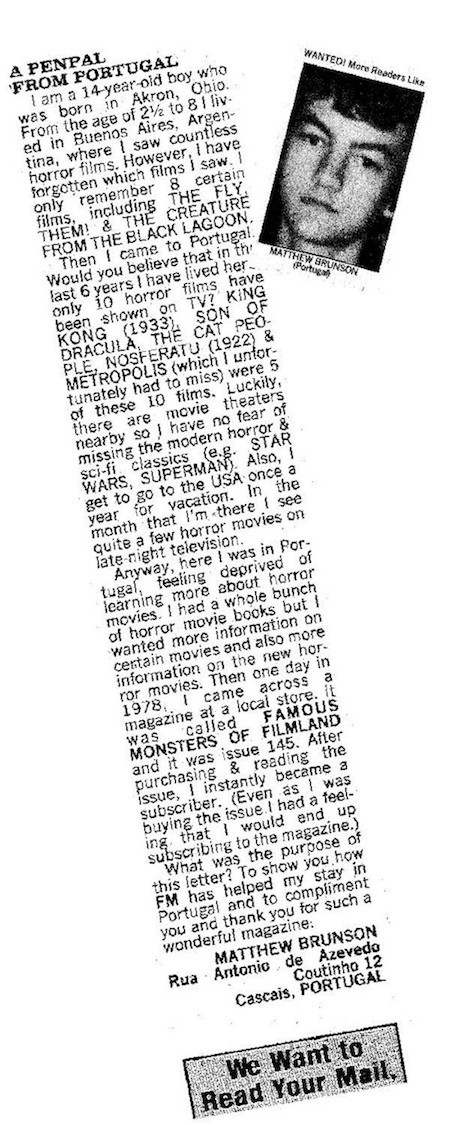 FAN MAIL: Back in 1981, I was thrilled to see my photo and letter appear in the pages of Famous Monsters of Filmland. Of course, I would like to think my writing has improved a wee bit since those days. (Photo: Warren Publishing)