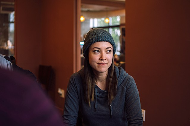 """Cristina Veale listens on at a recent """"Coffee & Coding"""" event. (Photo by Brittani Burns)"""