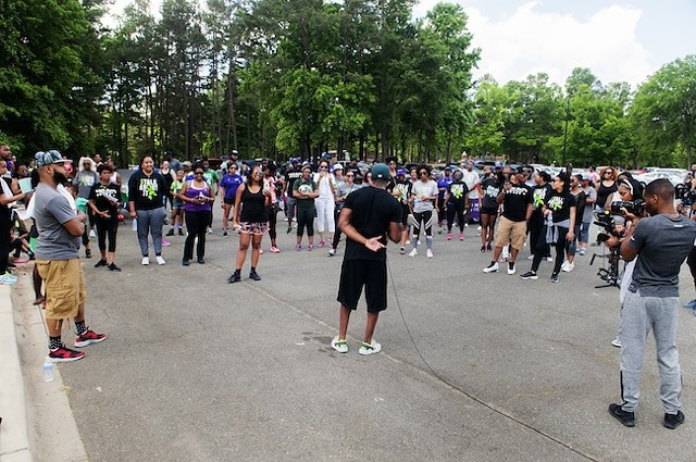 Miller addresses the crowd at last year's walk. (Photo by Jon Strayhorn)