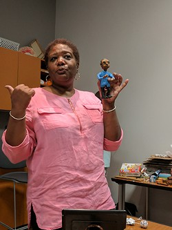 Jackie Black leads a recent claymation workshop at Gantt Center. (Photo by Ryan Pitkin)