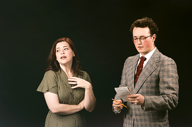 Lisa Hatt as Mollie Ralston (left) and Cole Pedigo as Detective Sergeant Trotter. (Photo by Darnell Vennie)