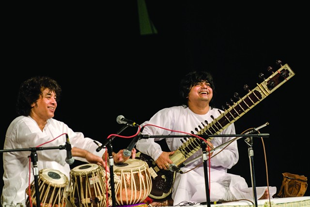 Zakir Hussain and Niladri Kumar perform at CPCC's Halton Theater on Oct. 9.