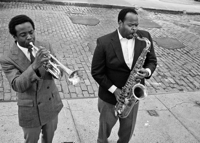 Omar El-Amin as Miles Davis and Quentin Talley as John Coltrane, in New York's SoHo.